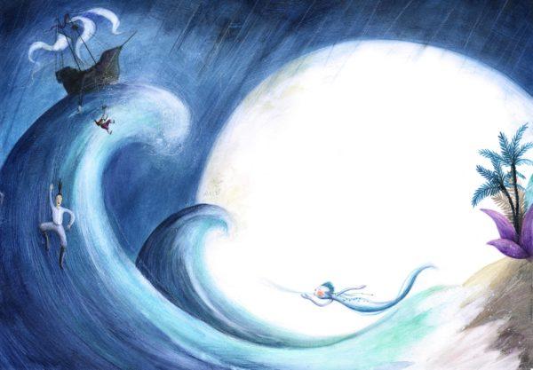 Der Sturm Innenansicht, unruhiges Meer vom Geist beschworen
