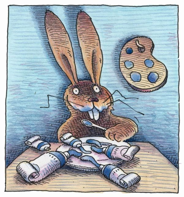 """Bild aus dem Bilderbuch """"Maler Moll"""": Der Hase Moll mit Farbpalette"""