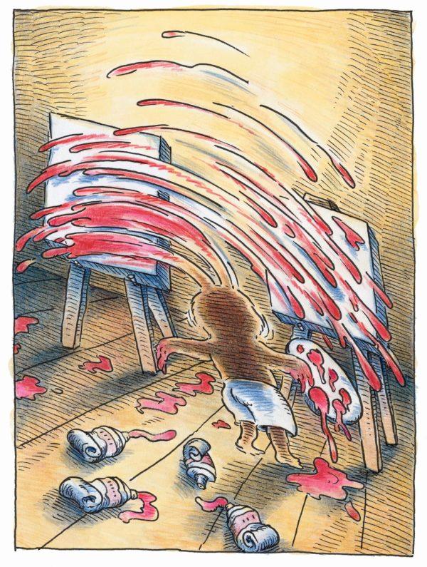 """Innenansicht aus dem Bilderbuch """"Maler Moll"""": Ein Hase steht vor zwei Staffeleien und malt mit seinen zwei Ohren"""