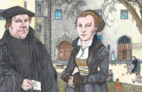 Luther und seine Frau vor einem Wohnhaus