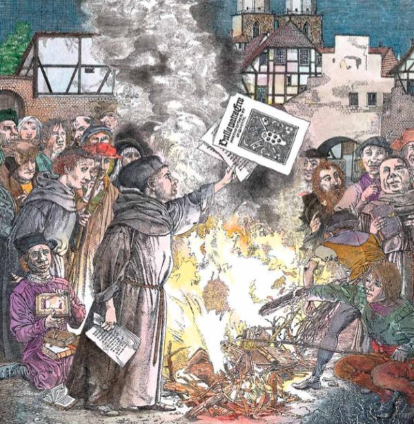 Schriften werden vor aller Menschen Augen von einem Mönch verbrannt