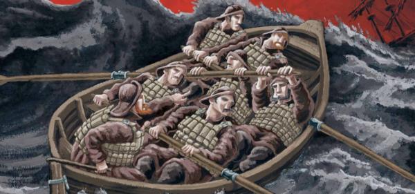 eine Besatzung im Boot auf stürmischer See