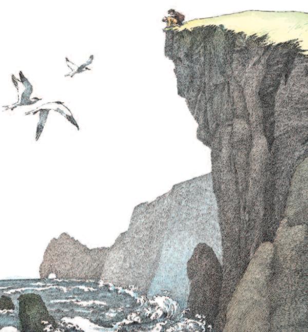 zwei Personen am Rande einer Klippe schauen in die Wellen