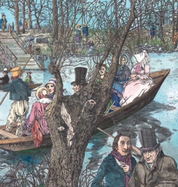 zwei Menschen spazieren an einem Bach vorbei, auf welchem Menschen in einem Boot fahren