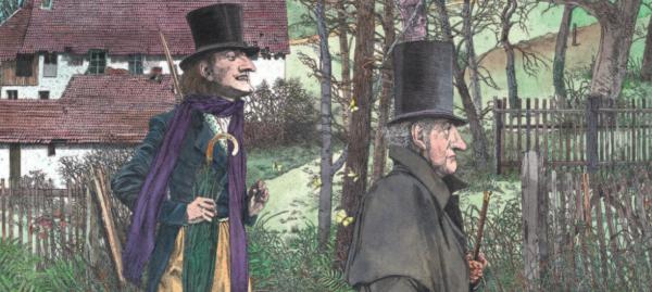 zwei Männer spazieren mit Hut und Stock