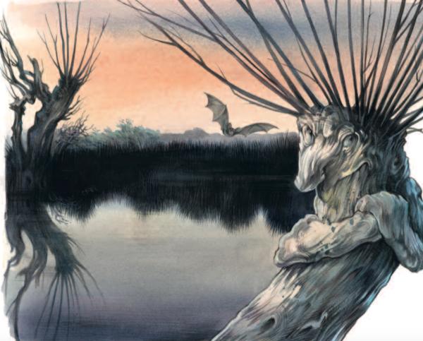 knorrige Bäume an einem See in der Abenddämmerung scheinen Gesichter zu haben