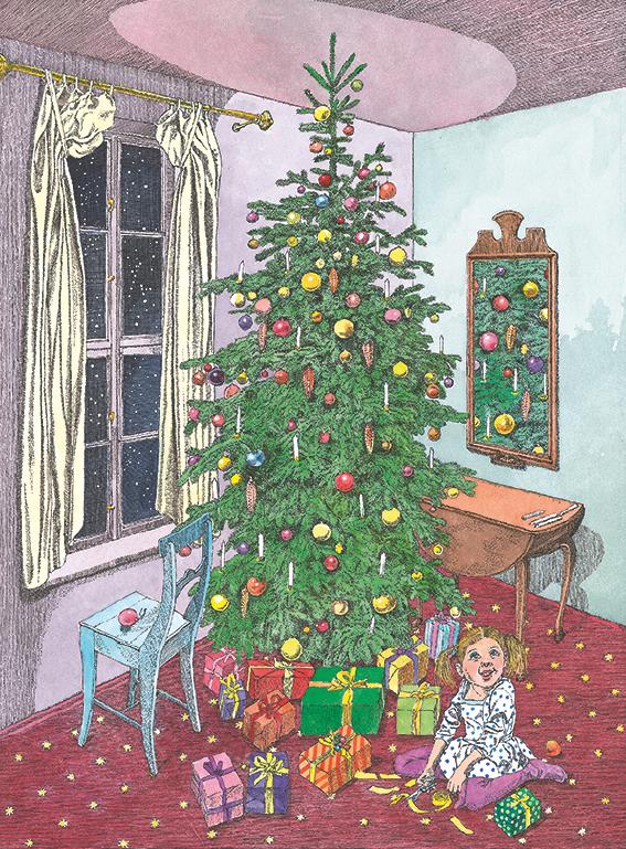 ein kleines Mädchen unter einem bunt geschmückten Tannenbaum im Wohnzimmer