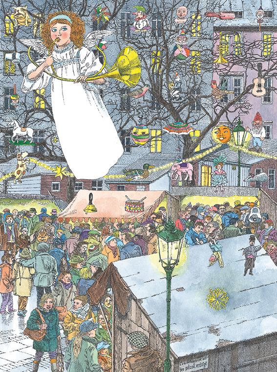 eine weihnachtlicher MArktplatz mit vielen bunt geschmückten Buden