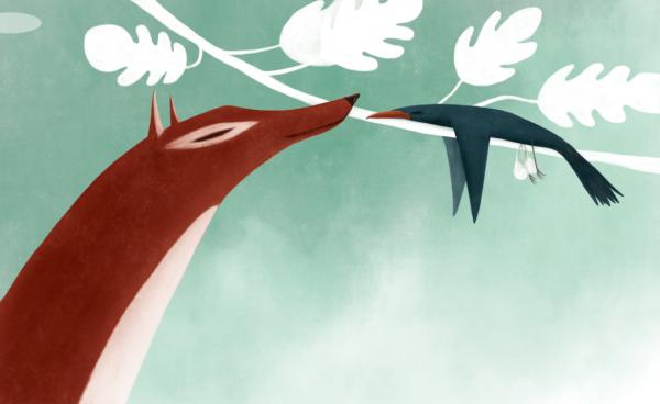 ein Fuchs lächelt einem auf einen Ast schlafenden Vogel zu