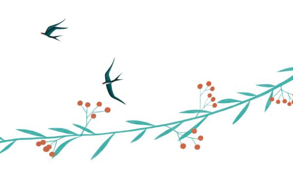 Schwalben und ein grüner Zweig