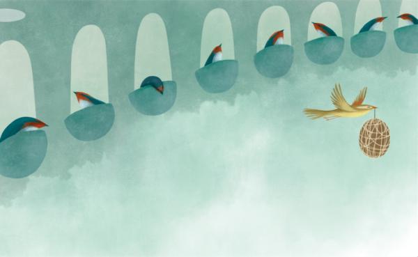 ein Vogel fliegt an verschiedenen Nestern vorbei mit einer Kugel im Schnabel