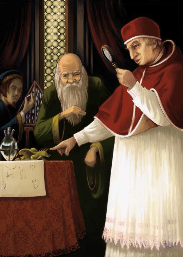 """Innenansicht aus dem Bilderbuch """"Leonardo da Vinci"""": Leonardo da Vinci präsentiert sein erfundenes Ungeheuer"""