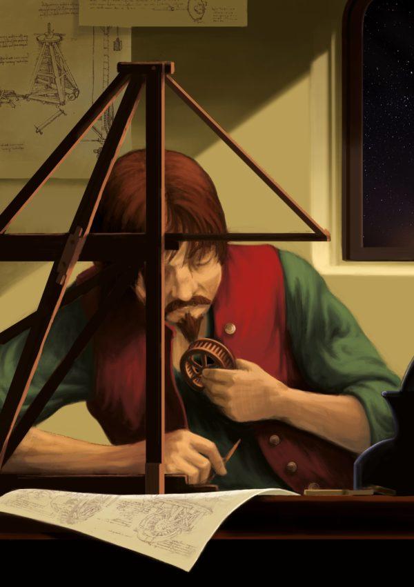 """Innenansicht aus dem Bilderbuch """"Leonardo da Vinci"""": Leonardo da Vinci sitzt nachdenklich mit verschiedenen Erfindungen am Schreibtisch über seinen Skizzen"""