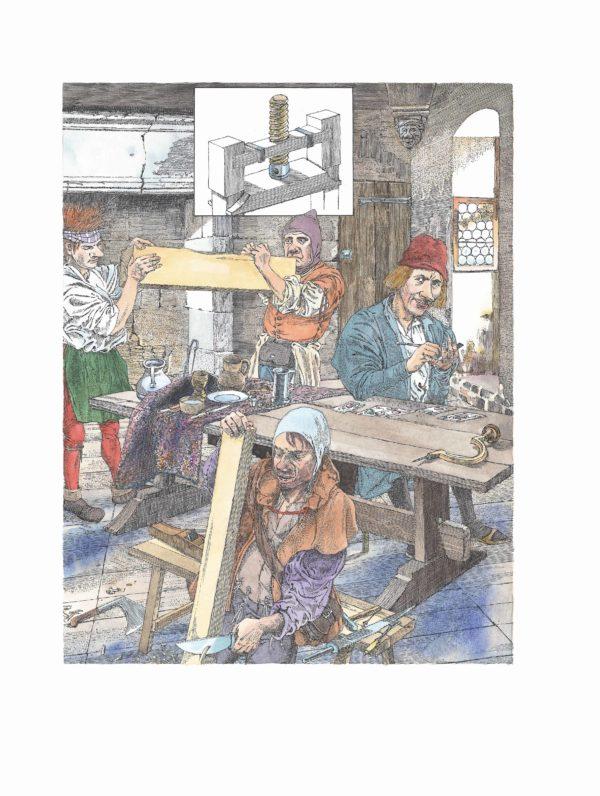 """Innenansicht aus dem Bilderbuch """"Johannes Gutenberg"""": Johannes Gutenberg arbeitet an seiner Erfindung"""