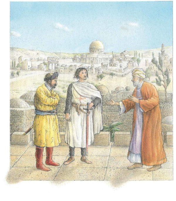 Nathan der Weise Innenansicht, drei Männer vor einer Stadt