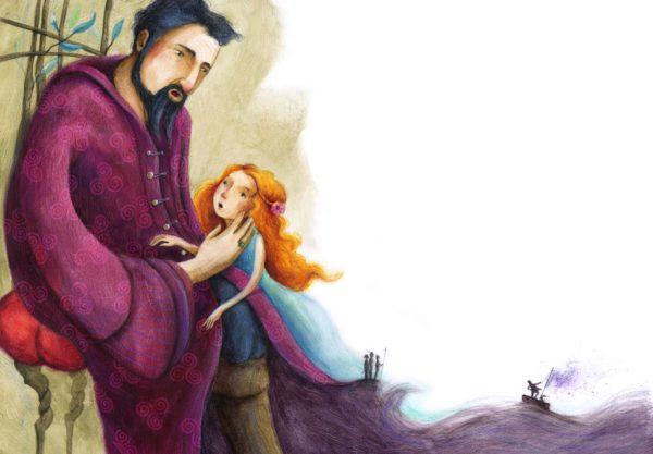 Der Sturm Innenansicht, Prospero mit seiner Tochter