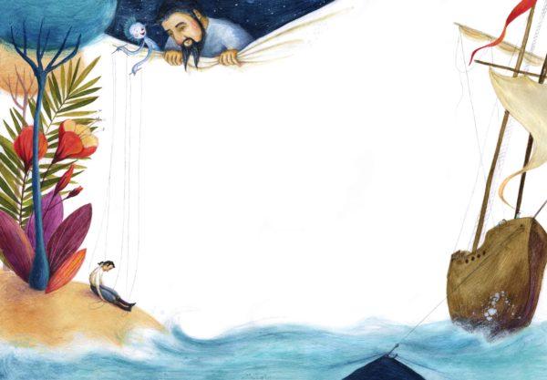 Der Sturm Innenansicht, Mensch auf Insel als Marionette