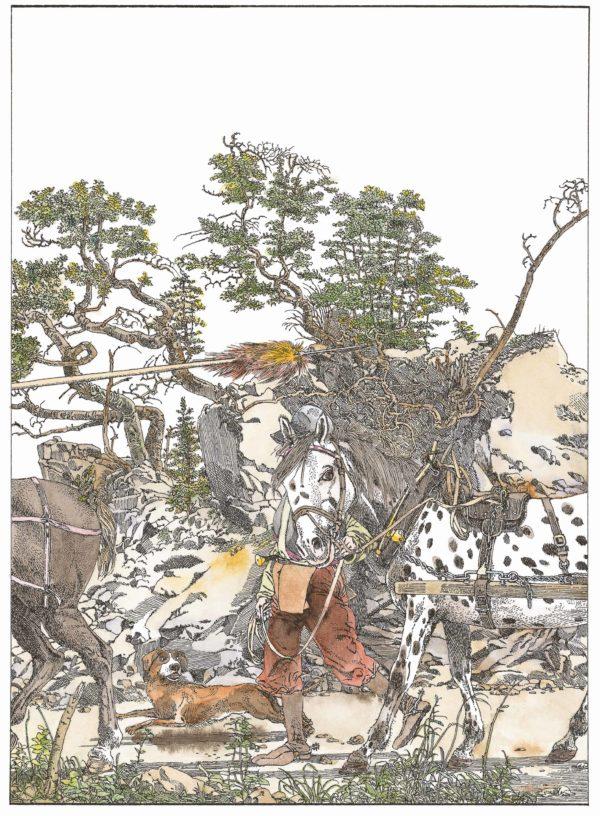 Wilhelm Tell Innenansicht Mann mit zwei Pferden und einem Hund auf einem Weg