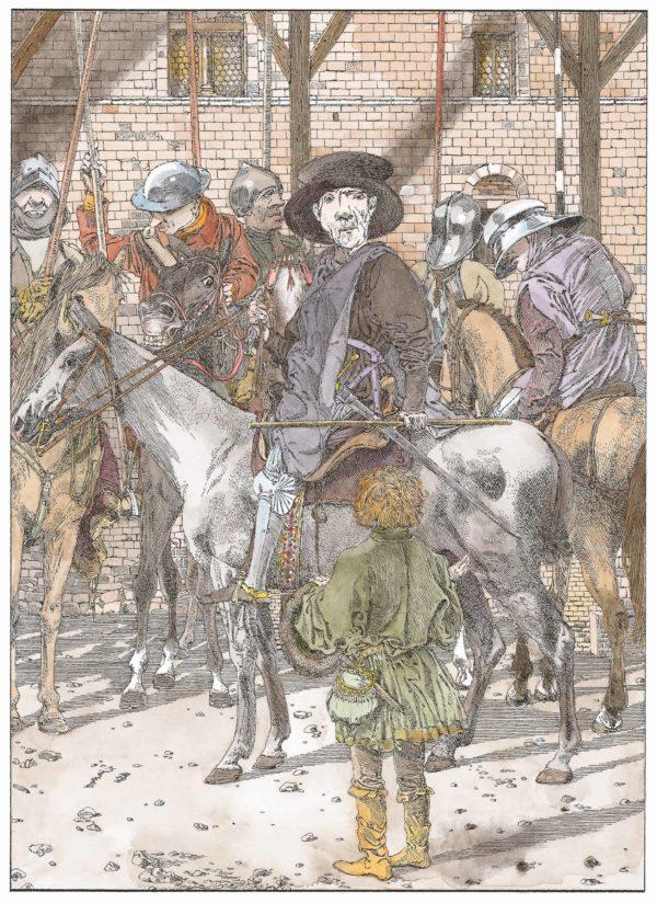 Wilhelm Tell Innenansicht, Mann auf einem Pferd, davor ein Junge