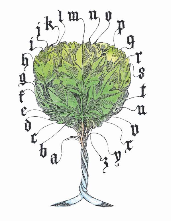 """Illustration des Alphabetbaumes aus dem Bilderbuch """"Johannes Gutenberg"""""""