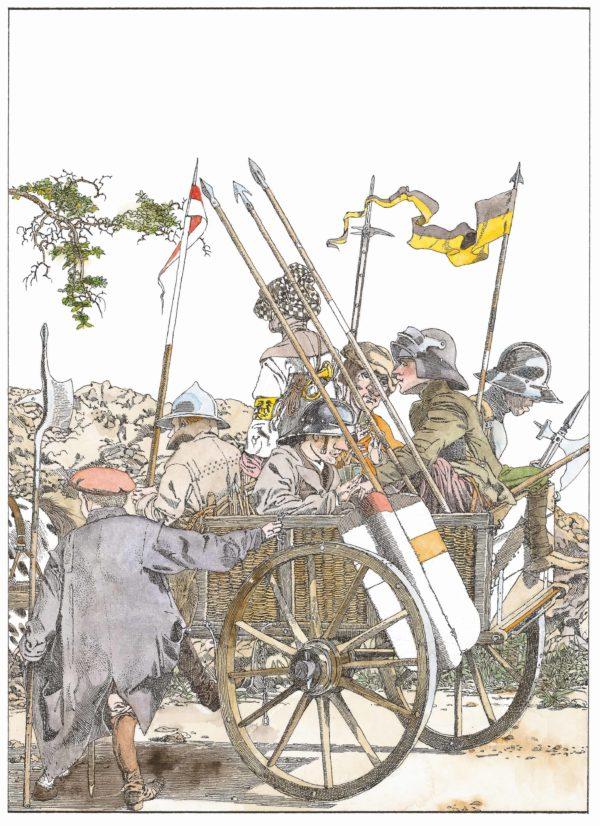 Wilhelm Tell, Innenansicht, müde Männer in Rüstung auf einem Wagen