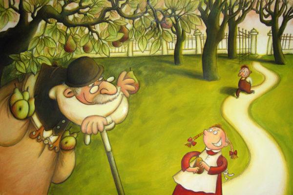 ein Alter hat die Taschen voller Birnen und bietet einem Mädchen und einem Junge welche an