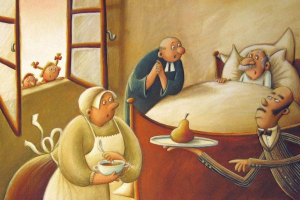 einem alten Kranken wird eine Birne angeboten