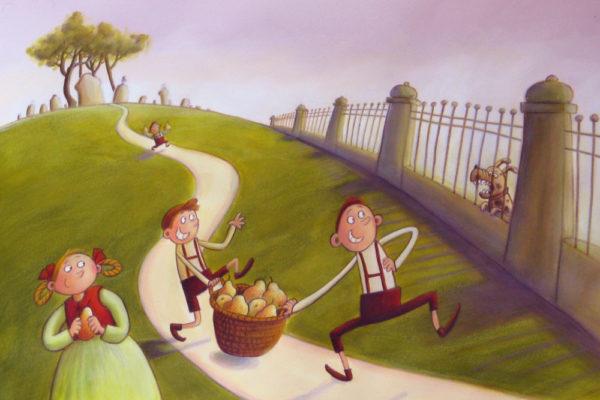 zwei Jungen klauen Birnen iin einem großen Korb, ein Mädchen steht kichernd daneben